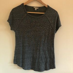 NWOT Lucky Brand Dark Grey gold Studded Tee
